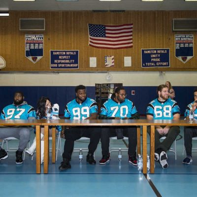 Carolina Panthers make the first stop of their European USO Tour at Ramstein Air Base on Monday, March 6, 2017 in Ramstein, Germany.