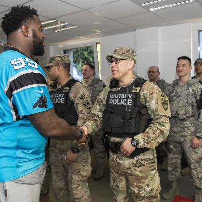 Carolina Panthers make the second stop of their European USO Tour at Ramstein AB and Landstuhl Regional Medical Center on Tuesday, March 7, 2017 in Ramstein, Germany.