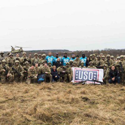 Carolina Panthers make the third stop of their European USO Tour at Grafenwoehr Army Base on Wednesday, March 8, 2017 in Grafenwoehr, Germany.