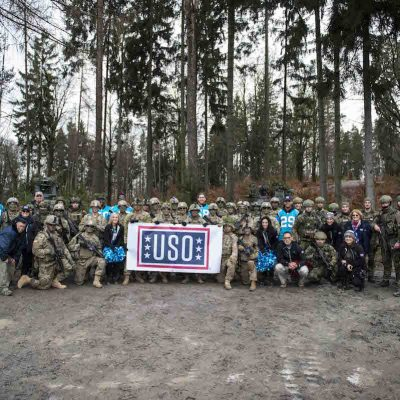 Carolina Panthers make the third stop of their European USO Tour at Grafenwoehr Army Base on Wednesday, March 8, 2017 in Grafenwoehr, Germany.